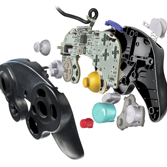 """""""Inner workings of a video game controller, illustration"""" stock image"""