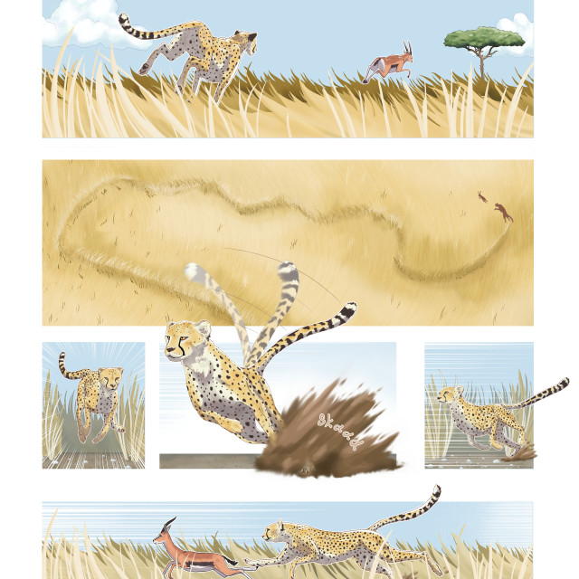 """""""Cheetah pivoting with its tail, illustration"""" stock image"""