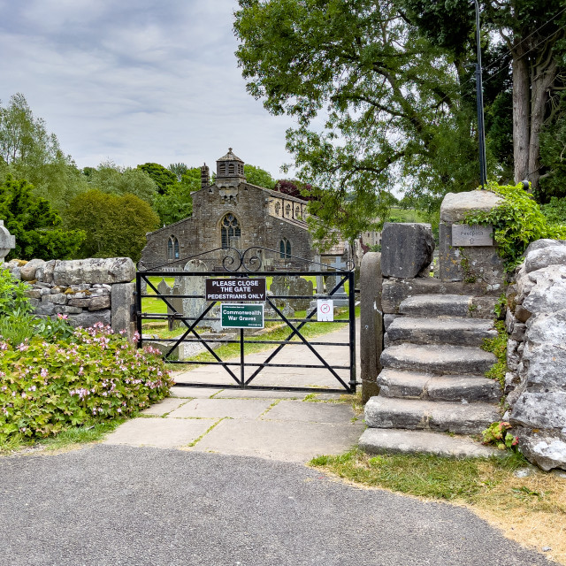 """""""Parish Church and Graveyard Entrance Gate, St Michael and All Angels, Linton in Craven."""" stock image"""