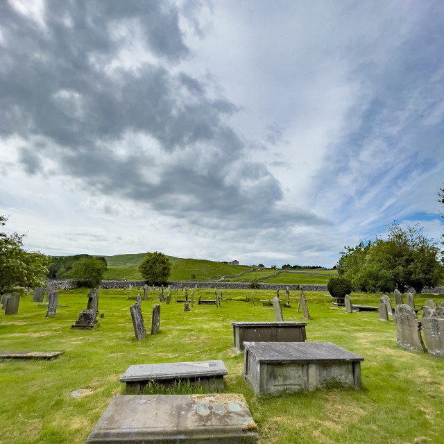 """""""Parish Church Graveyard, St Michael and All Angels, Linton in Craven."""" stock image"""