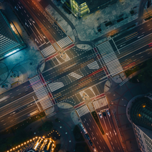 """""""Abstract aerial top down view of crossroad"""" stock image"""
