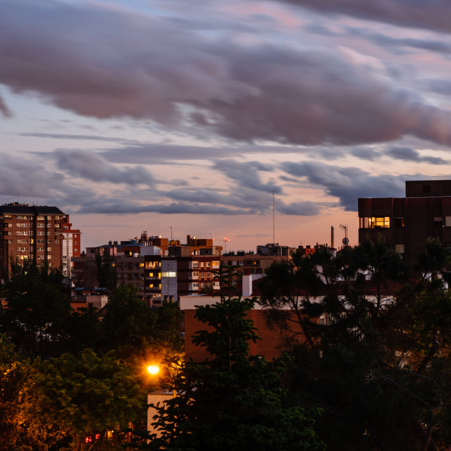 """""""Residential District in Madrid. View at sunset"""" stock image"""