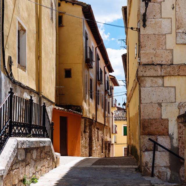 """""""View of the medieval town of Brihuega in Guadalajara"""" stock image"""