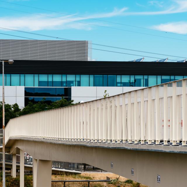 """Steel Footbridge or Walkway over Highway in Madrid"" stock image"