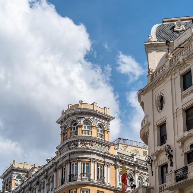 """Historic residential buildings in Gran Via Avenue in Madrid"" stock image"