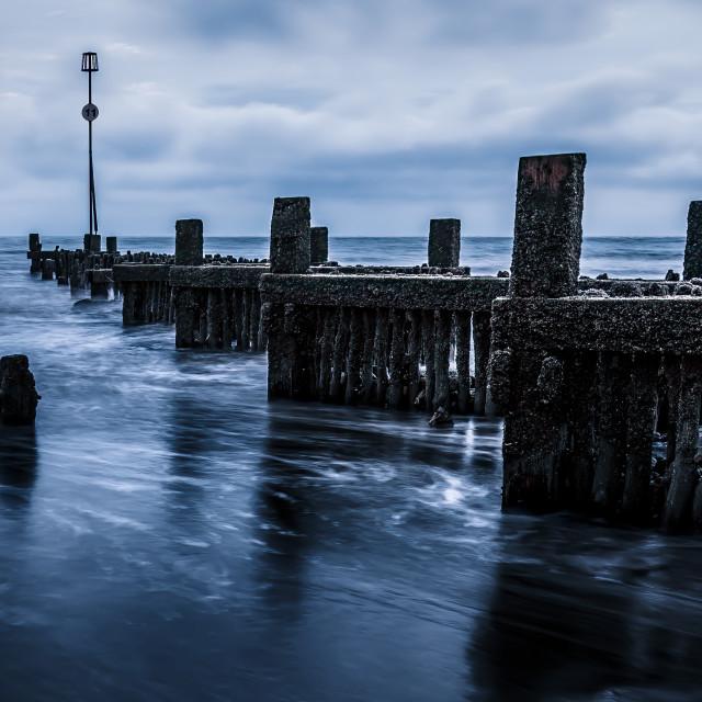 """Groynes from Hunstanton Beach, UK."" stock image"