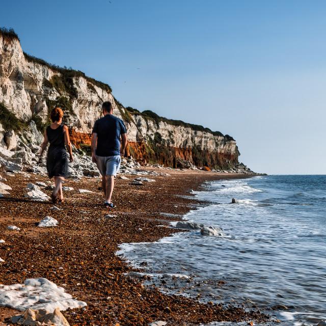 """A walk along Hunstanton Shoreline, UK."" stock image"