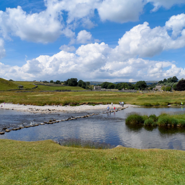 """""""Stepping Stones over River Wharfe to Linton in Craven."""" stock image"""