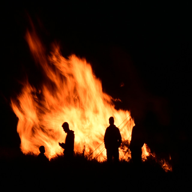 """Around the Bonfire"" stock image"