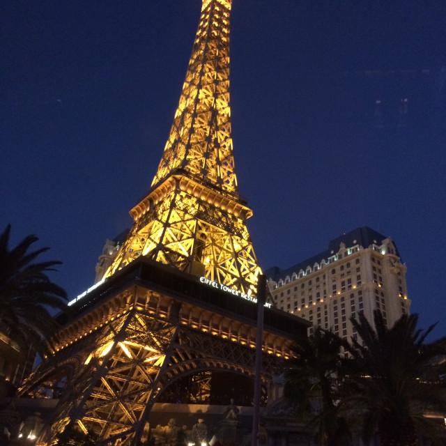 """Eiffel Tower - Las Vegas at night"" stock image"