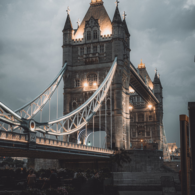"""Looking across Tower Bridge, London, UK"" stock image"