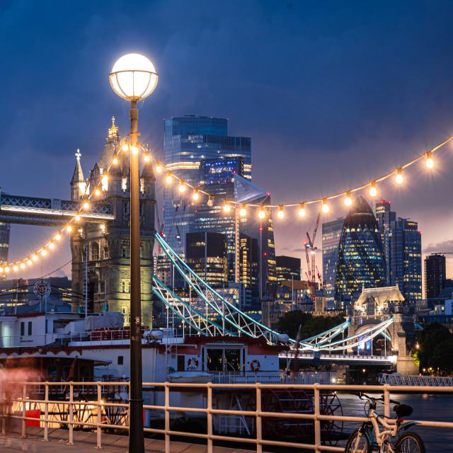 """Looking across Tower Bridge towards the financial district, London, UK"" stock image"
