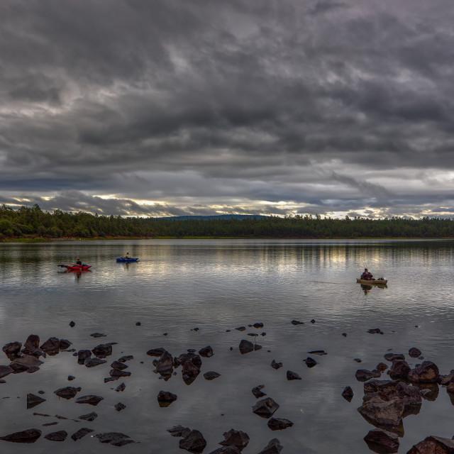 """""""Fishing from Kayaks"""" stock image"""