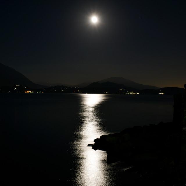 """Lake Maggiore Under Moonlight"" stock image"