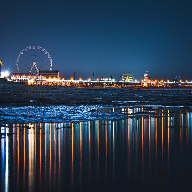 """Hunstanton Beach, night reflections, UK."" stock image"