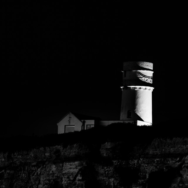 """""""Hunstanton Old Lighthouse in Black and White, UK."""" stock image"""