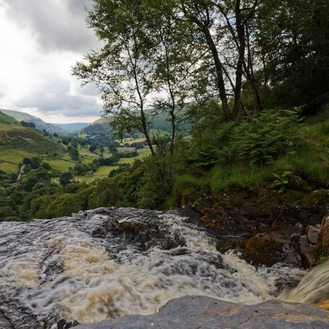 """""""On top of Pistyll Rhaeadr Waterfall (landscape)"""" stock image"""