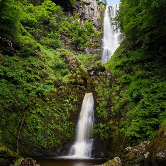 """""""Pistyll Rhaeadr Waterfall 2 tiers"""" stock image"""
