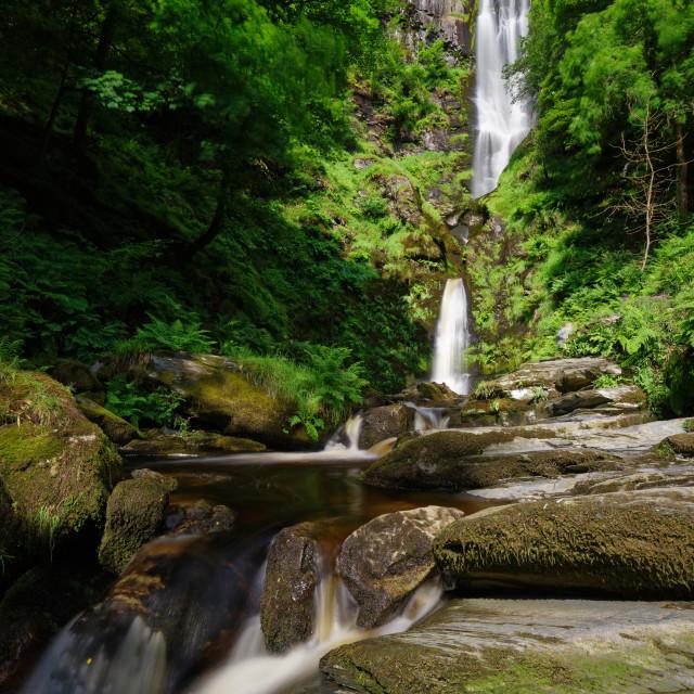 """""""Pistyll Rhaeadr Waterfall 3 tiers"""" stock image"""