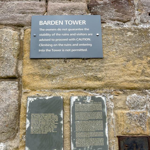 """Barden Tower, Descriptive Information Plaques."" stock image"