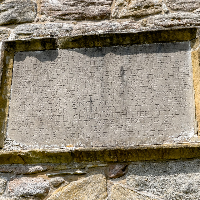 """""""Historic Descriptive Carved in Stone Plaque, Barden Tower."""" stock image"""