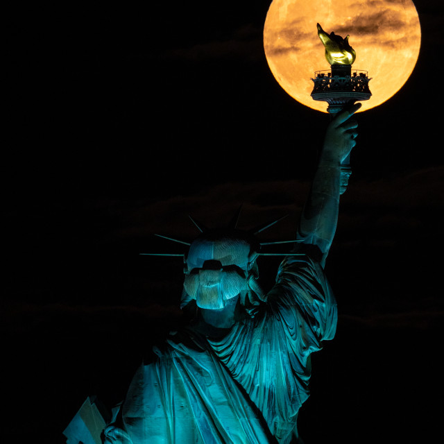 """""""Lady Liberty and the Moon"""" stock image"""