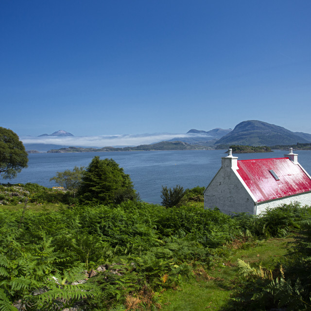 """""""The Wee Red Cottage on Loch Shieldaig, Scottish highlands"""" stock image"""
