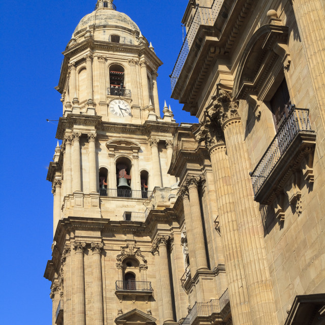 """""""Malaga Cathedral against a deep blue sky"""" stock image"""