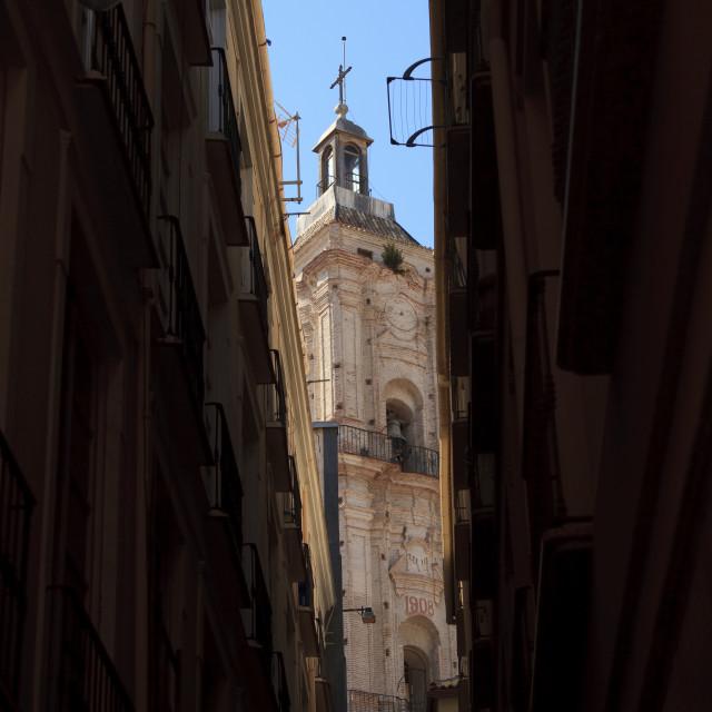 """Church tower of San Juan in Malaga"" stock image"