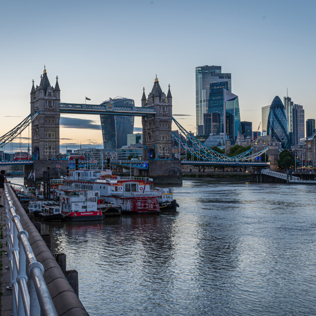 """""""Along the river from Tower Bridge"""" stock image"""