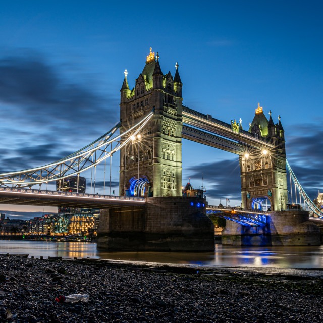 """""""Tower Bridge in the blue hour, London"""" stock image"""
