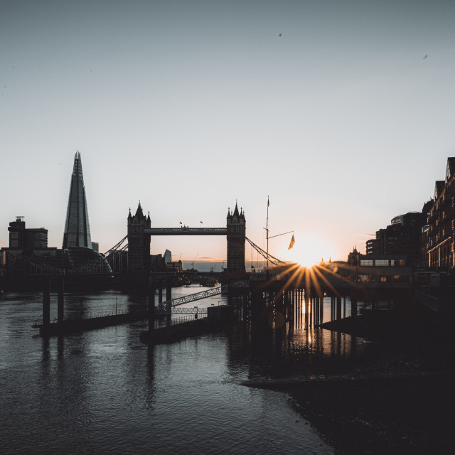 """""""Sunset in London including Tower Bridge, and the Shard"""" stock image"""