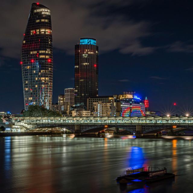 """Looking towards Blackfriars Bridge, London"" stock image"