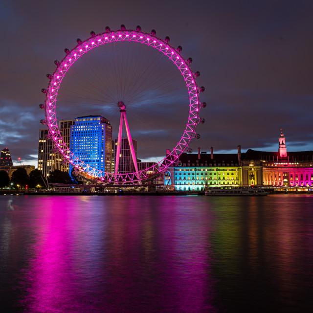 """""""London Eye, lit up at night, London"""" stock image"""