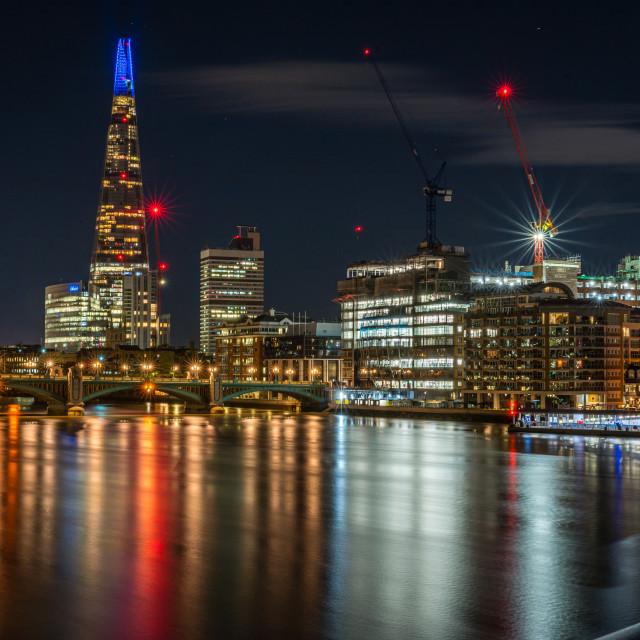 """""""Looking at The Shard at night, London"""" stock image"""