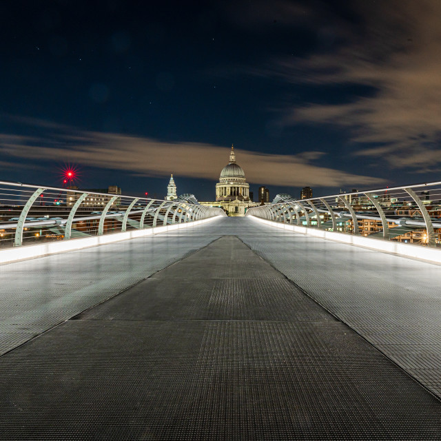 """""""Looking at St Paul's Cathedral form the Millennium Bridge, London"""" stock image"""