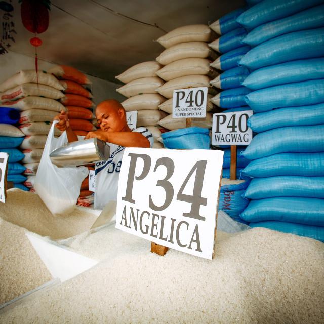 """""""Verkauf von Reis in einem Marktstand"""" stock image"""