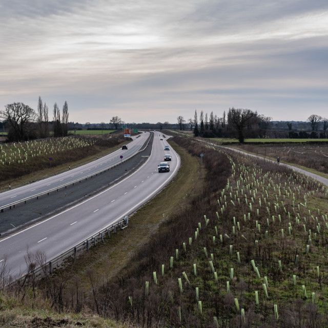 """""""Broadland Expressway- NDR-Dual carriageway with cars plus footpa"""" stock image"""