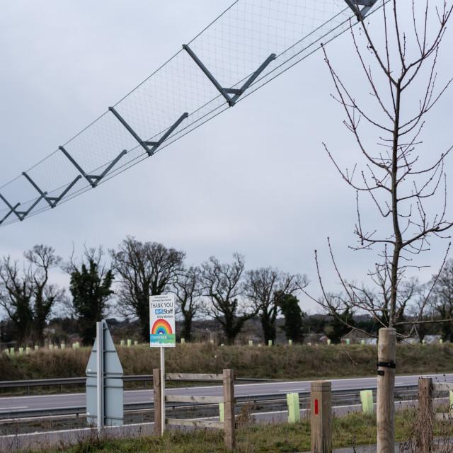 """Broadland Expressway-NDR dual carriageway with wildlife bridge a"" stock image"