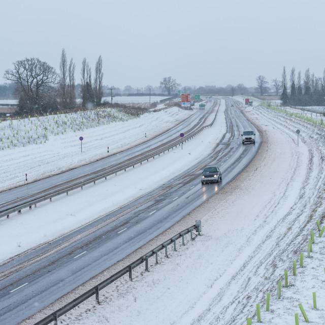 """Vehicles driving on Broadland Expressway NDR dual carriageway, P"" stock image"