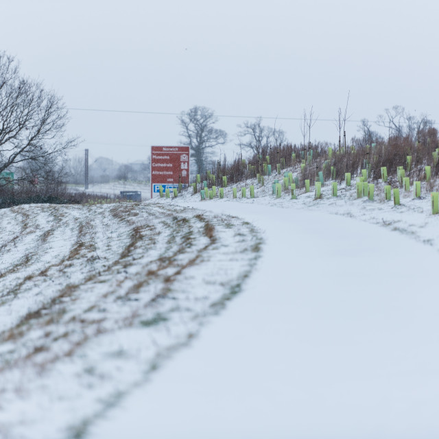 """""""Snow covered footpath by Broadland Expressway NDR, Postwick, Nor"""" stock image"""