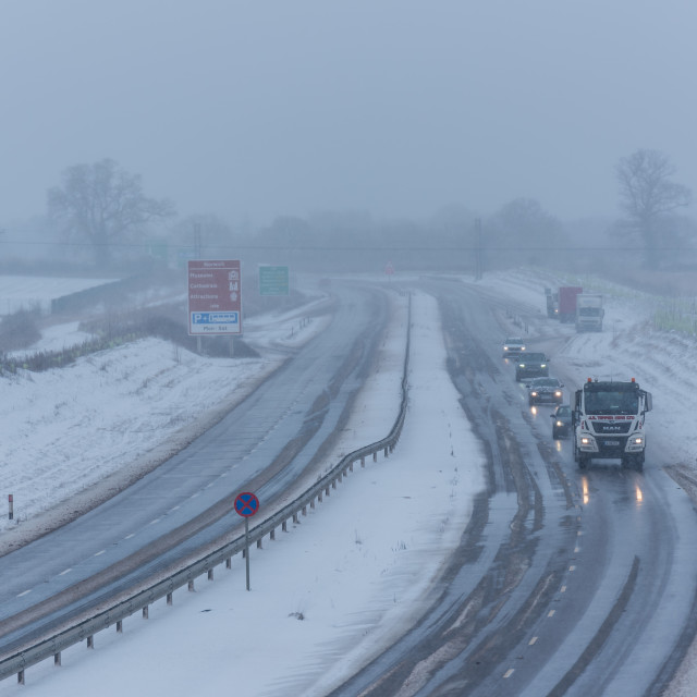 """""""Lorry and cars driving on Broadland Expressway NDR dual carriage"""" stock image"""