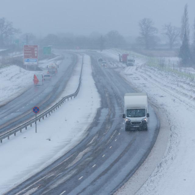 """Van and cars driving on Broadland Expressway NDR dual carriagewa"" stock image"