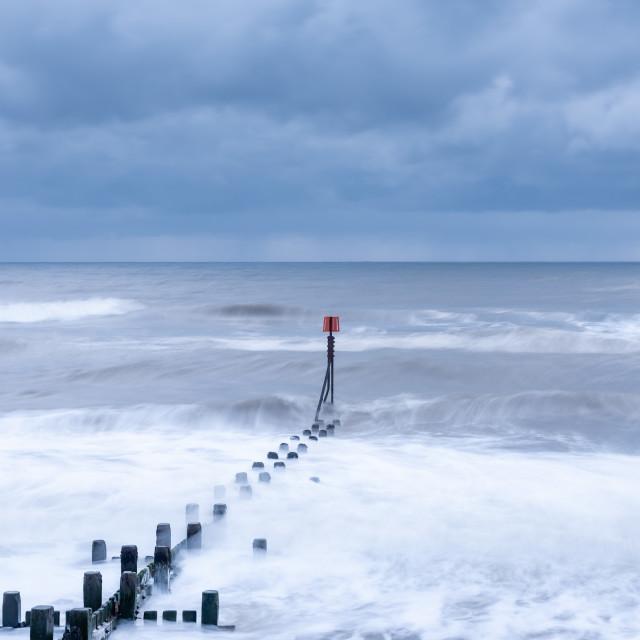 """Sea defences seascape at Cart Gap, Norfolk ii"" stock image"