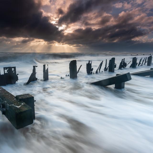 """Stormy clouds Seascape, Cart Gap, Norfolk v"" stock image"