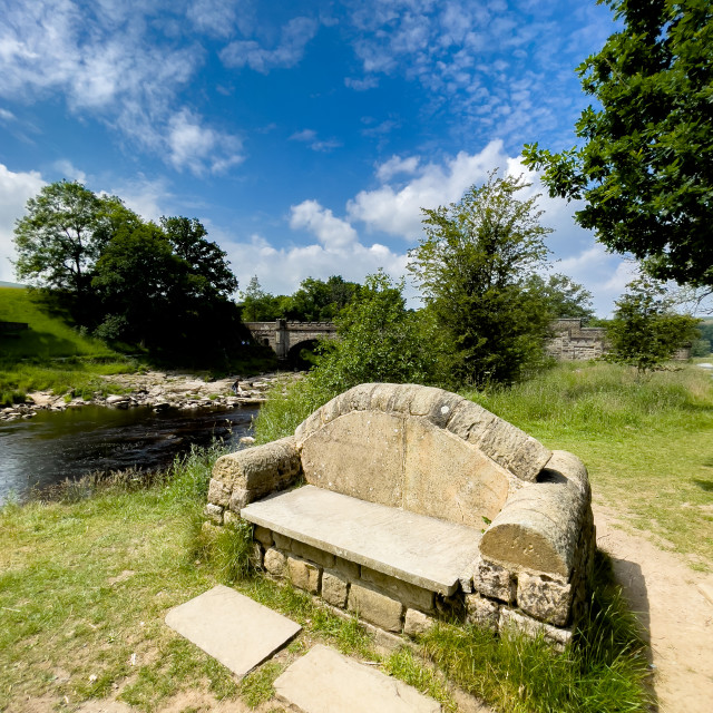 """Stone Seat, Nidd Aquaduct, River Wharfe."" stock image"