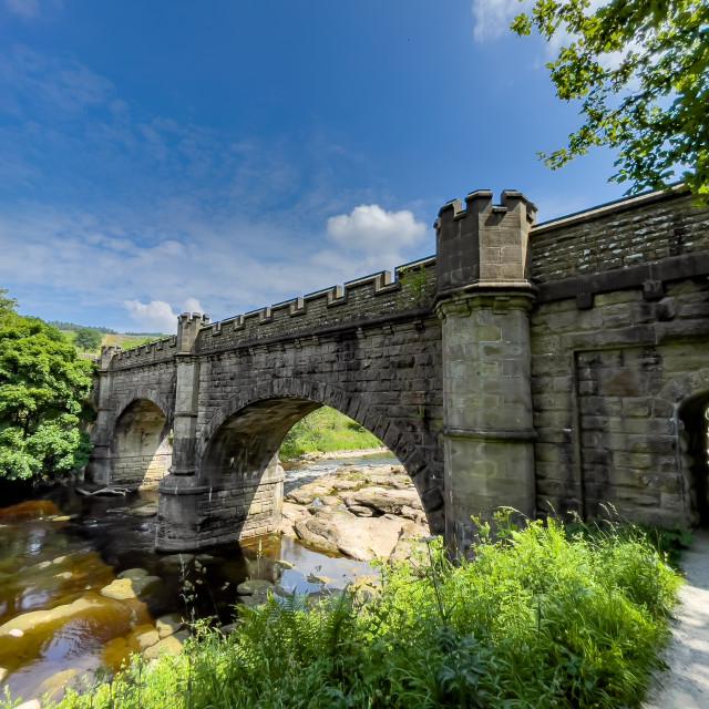 """Crenelated Nidd Aquaduct crossing River Wharfe near Barden Bridge"" stock image"