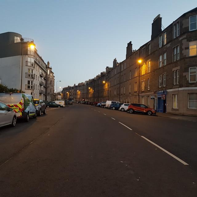 """Traffic Free Easter Road, Edinburgh"" stock image"