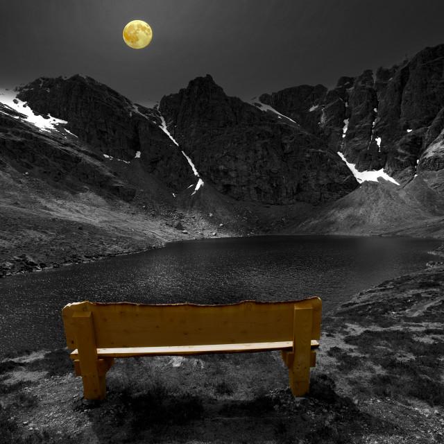 """The Moon and a Bench, Creag Meagaidh, Highlands"" stock image"
