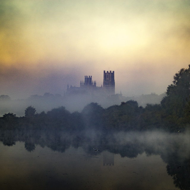"""""""Ely Cathedral, from Roswell Lakes"""" stock image"""